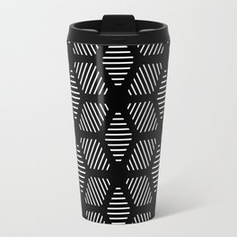 Geometric Line Lines Diamond Shape Tribal Ethnic Pattern Simple Simplistic Minimal Black and White Travel Mug