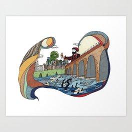T-Rex and Paul Bunyan Share a Cone Art Print