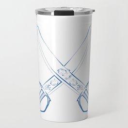 Crossed Cutlasses Blue Outline Travel Mug