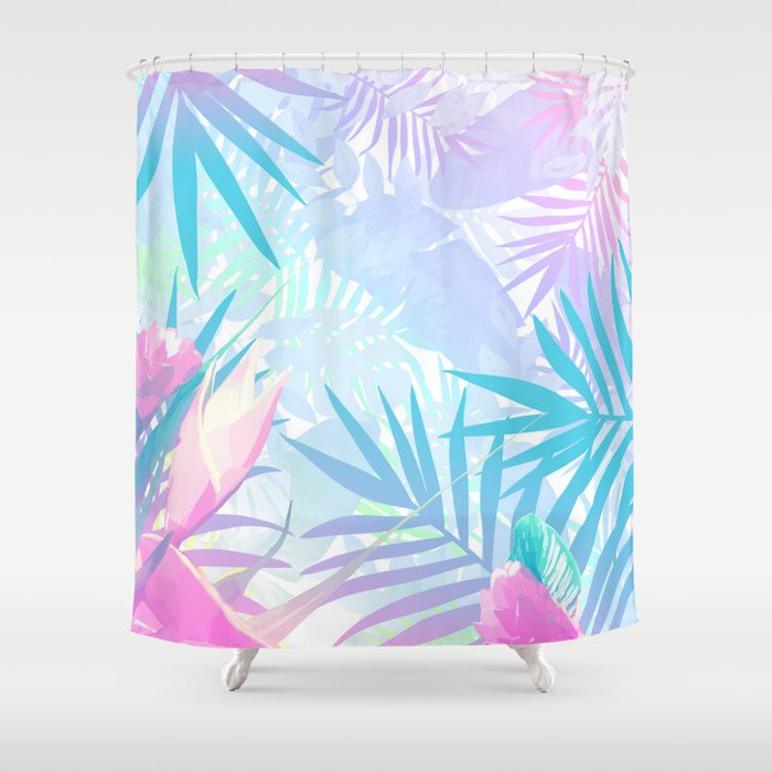 Pastel Rainbow Tropical Paradise Design Shower Curtain by ...