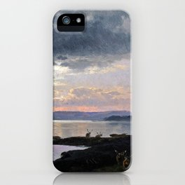 Twighlight over a lake - Hermann Ottomar Herzog iPhone Case