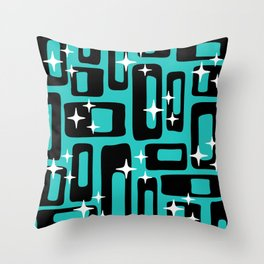 Retro Mid Century Modern Abstract Pattern 780 Black and Blue Throw Pillow