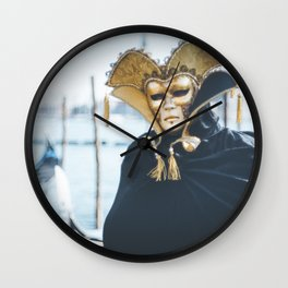 Black and gold carnival mask in Venice Wall Clock