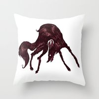the hound Throw Pillows featuring Happy Hound  by exeivier