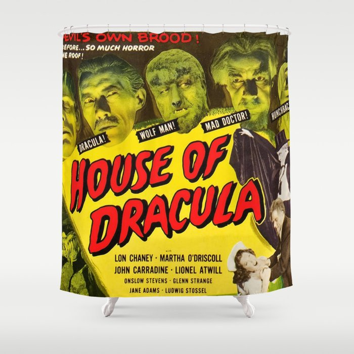 House Of Dracula Vintage Horror Movie Poster Shower Curtain