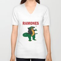 ramones V-neck T-shirts featuring Ramonasaurus  by Christopher Chouinard