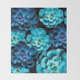 Succulent Plants In Blue And Turquoise Color #decor #society6 #homedecor Throw Blanket