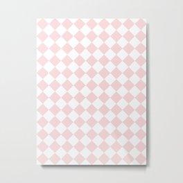 Diamonds - White and Light Pink Metal Print