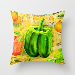 Green Bell Pepper - Vintage Collage Throw Pillow