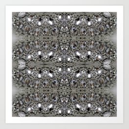girly chic glitter sparkle rhinestone silver crystal Art Print