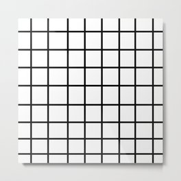 Grid White & Black Metal Print