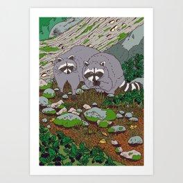 Raccoons & Blackberry Art Print