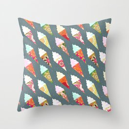Mandala ice cream | gray  Throw Pillow