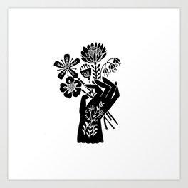 Linocut black and white hand holding flowers art printmaking design Art Print