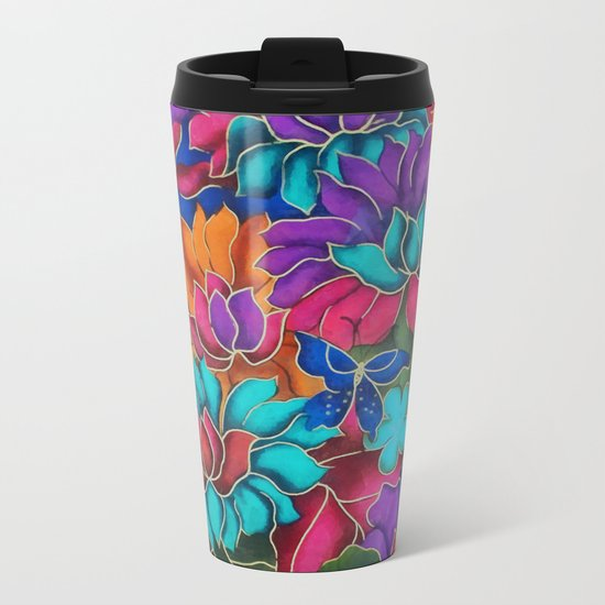 Colorful floral fantasy Metal Travel Mug