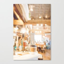 Coffee Shop and Camera Canvas Print