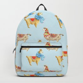 Happy Llama Pattern - Cute Animal Nursery Decor Collection Backpack