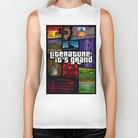 grand theft auto Biker Tanks featuring Grand Theft Literature by Mitul Mistry