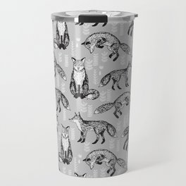 Fox pattern drawing foxes cute andrea lauren grey forest animals woodland nursery Travel Mug