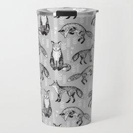 Fox pattern drawing foxes cute andrea lauren grey forest animals woodland nursery Travel Mug