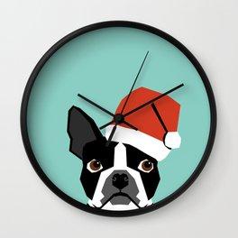 Xmas Boston Terrier Santa Hat funny dog gift for dog lover terrier owner boston terrier cute puppy  Wall Clock