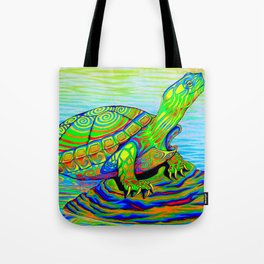 Colorful Psychedelic Neon Painted Turtle Rainbow Turtle Tote Bag