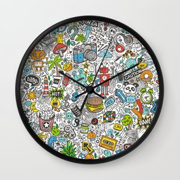 Comic Pop art Doodle Wall Clock