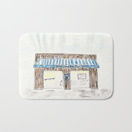 Britt's Donut Shop, Carolina Beach, NC, watercolor Bath Mat