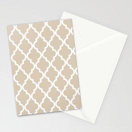 Moroccan Quatrefoil Pattern: Beige Stationery Cards