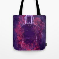 police Tote Bags featuring Karma Police by victor calahan