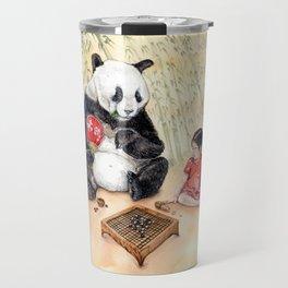 Playing Go with Panda Travel Mug