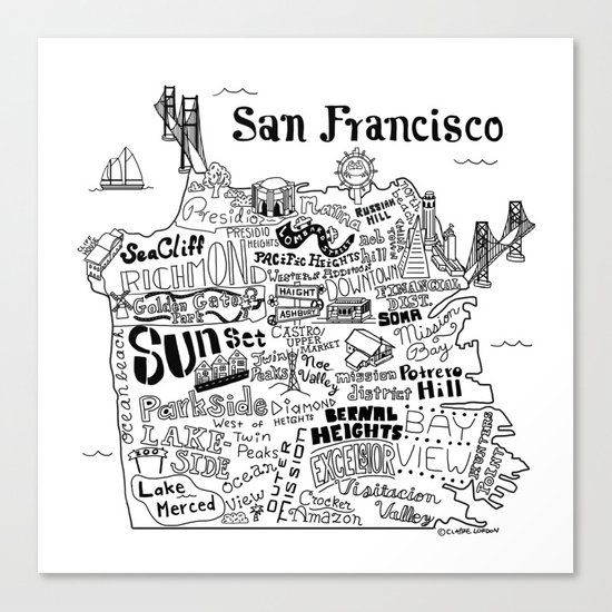 San Francisco Map Illustration Canvas Print by Claire Lordon