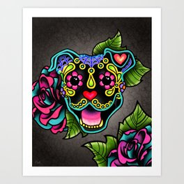 Smiling Pit Bull in Black - Day of the Dead Pitbull Sugar Skull Art Print