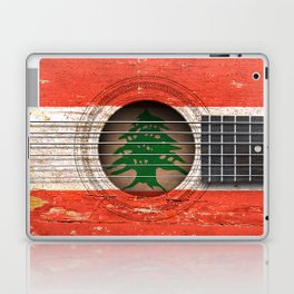 Old Vintage Acoustic Guitar with Lebanese Flag Laptop & iPad Skin