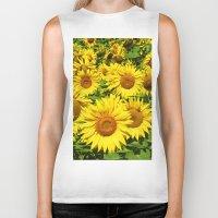 sunflowers Biker Tanks featuring Sunflowers. by Assiyam