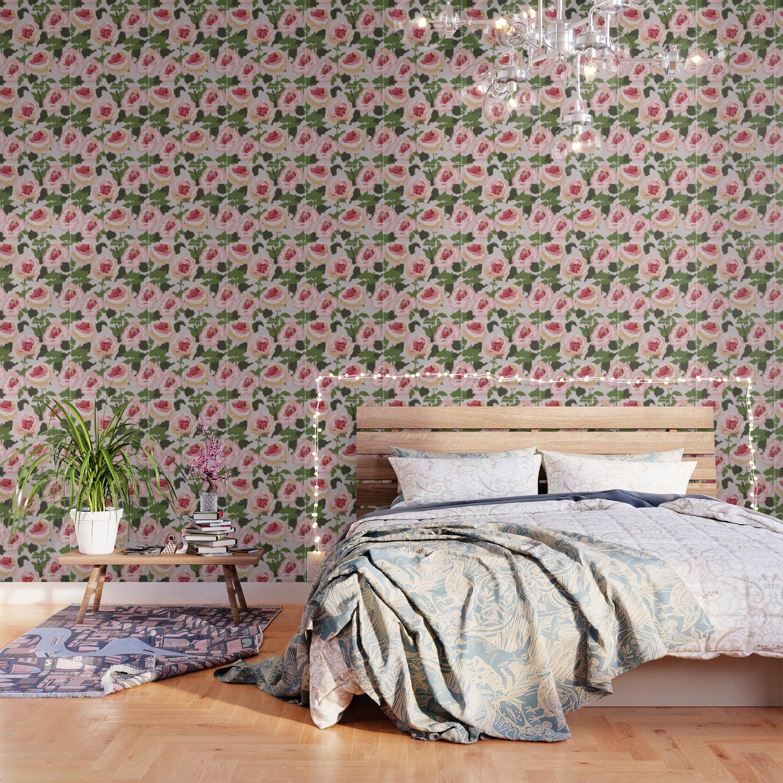 Peonies before the rain, pink peonies on dark blue background Wallpaper