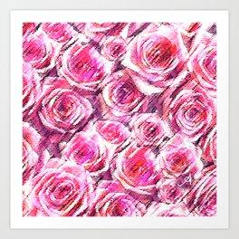 Textured Roses Pink Amanya Design Art Print