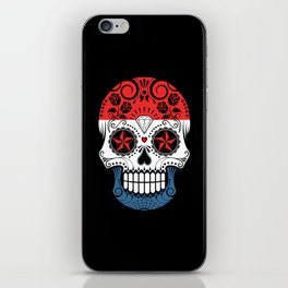 Sugar Skull with Roses and Flag of The Netherlands iPhone Skin
