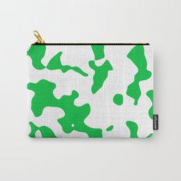 Large Spots - White and Dark Pastel Green Carry-All Pouch