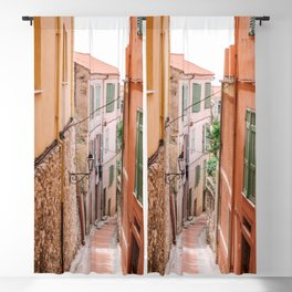 French orange & yellow town - Old house alley in Menton, France, South Europe | Travel photography Blackout Curtain