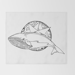 Flying whale Throw Blanket