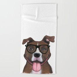 Hipster Pit Bull Beach Towel