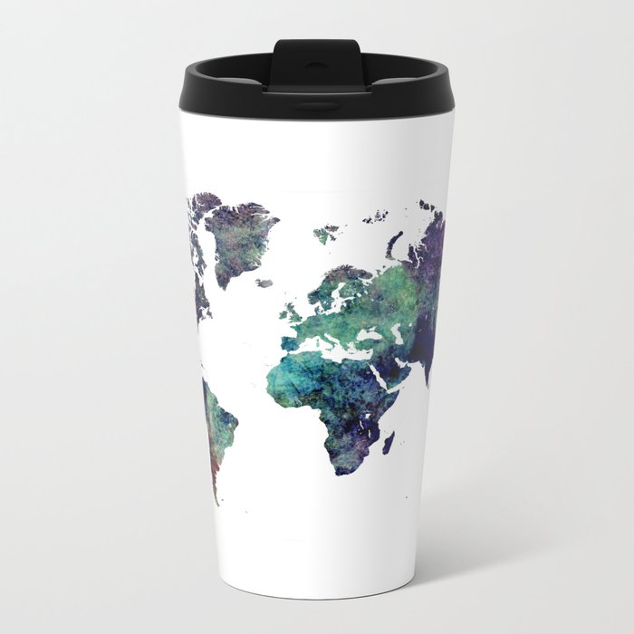 Map of the World After Ice Age Metal Travel Mug
