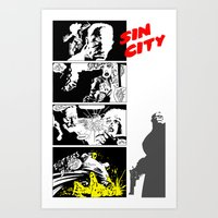 sin city Art Prints featuring Sin City by FYeahMelissa