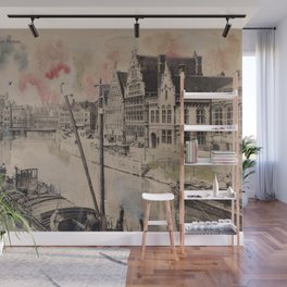 Ghent Painted Postcard Wall Mural