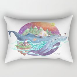 Penguins travel across the sky on a whale lsland with mountains and igloo Rectangular Pillow