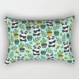 Panda Bear Print, Baby Panda, Blue and Green, Cute Panda Pattern Rectangular Pillow
