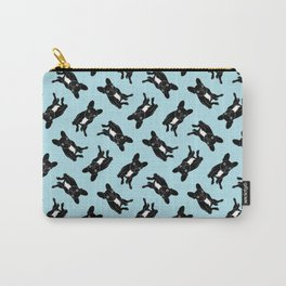 Cute brindle French Bulldog in black and white digital art Carry-All Pouch