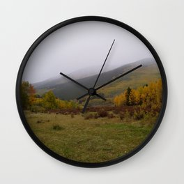 Rolling Fog on A Golden Peak Wall Clock