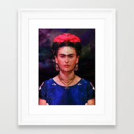 FRIDA KAHLO GEOMETRIC PORTRAIT Framed Art Print
